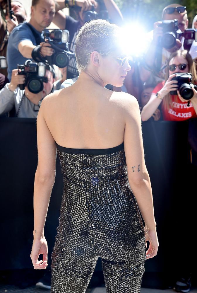 Kristen Stewart arriving at the Chanel show.