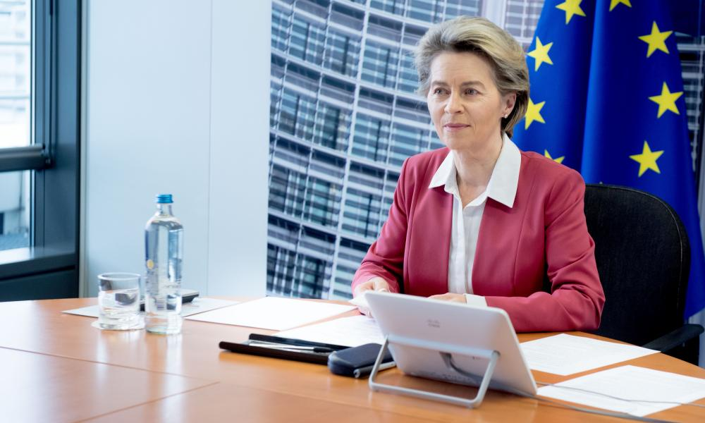 European Commission President Ursula von der Leyen attends a video conference in Brussels, Belgium, 31 January, 2021.