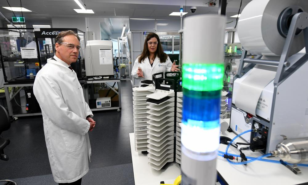 Health minister Greg Hunt on a visit to the Walter and Eliza Hall Institute of Medical Research in Melbourne last year