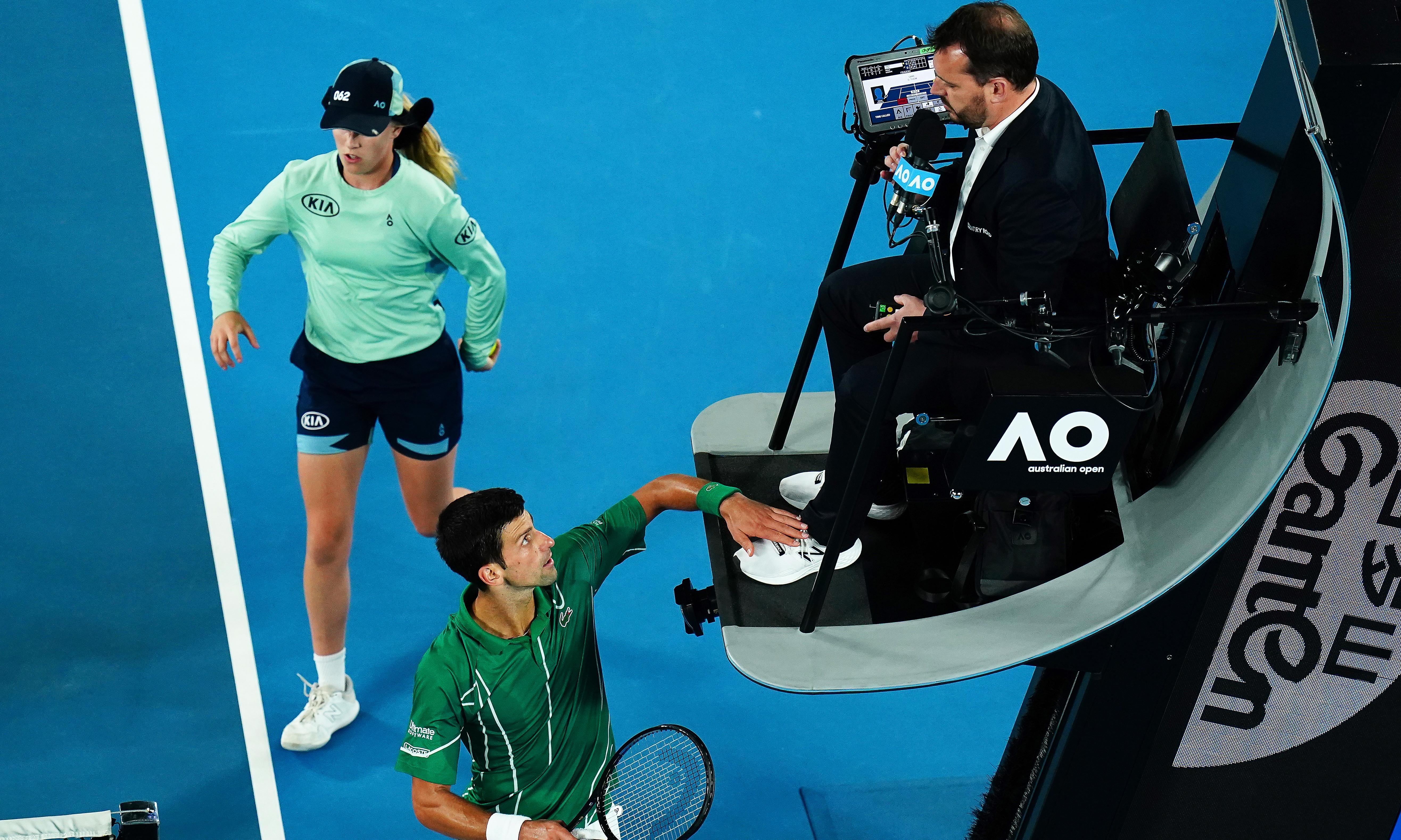 Novak Djokovic says he did not overstep mark when touching umpire's shoe