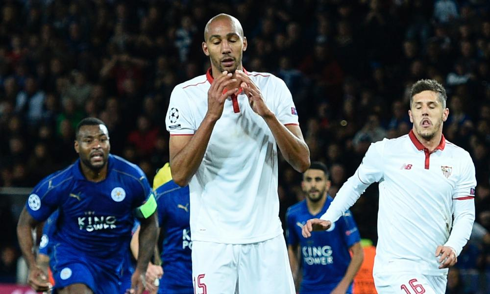 Sevilla's Steven N'Zonzi reacts after seeing his penalty saved.