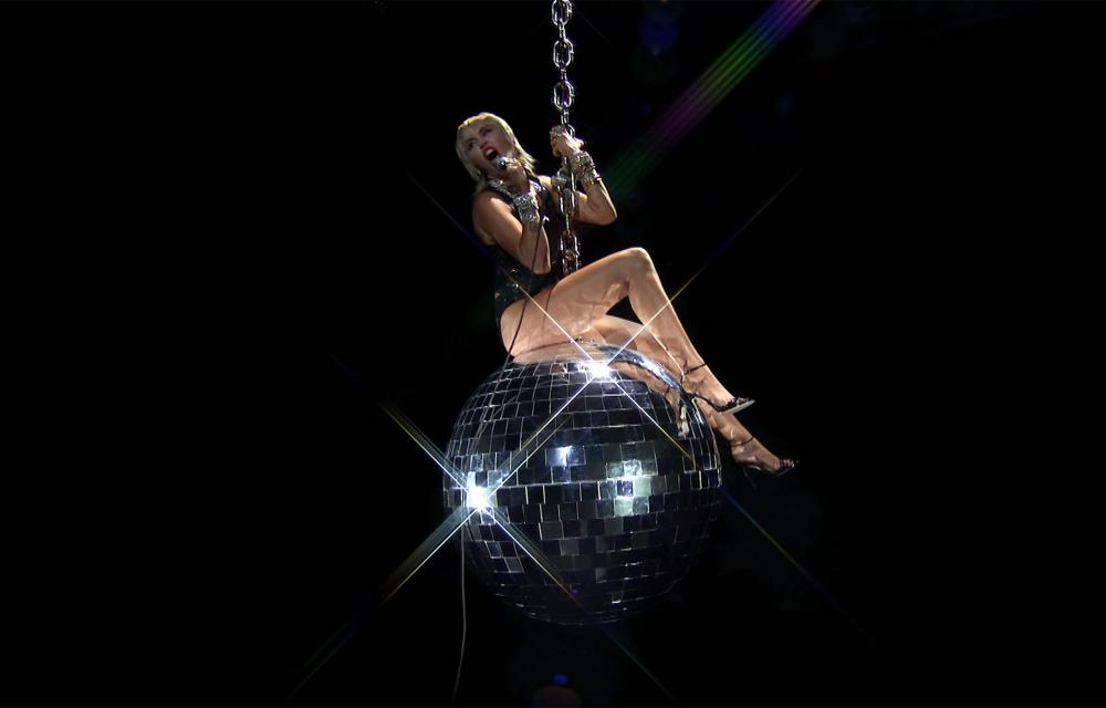 Miley Cyrus performing during the 2020 MTV Video Music Awards in August.