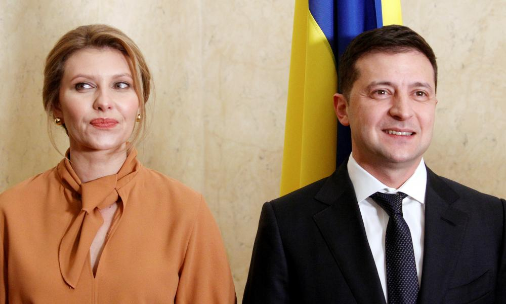 Olena Zelenska stands alongside her husband Volodymyr Zelenskiy, the president of Ukraine.