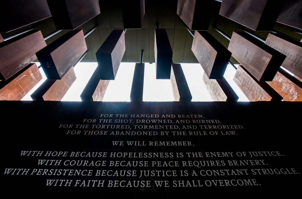 Inside the lynching memorial, which features steel monuments dangling like bodies.