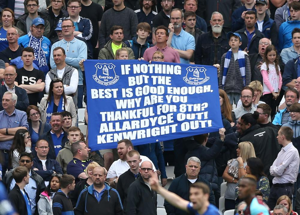 Everton fans protesting during the game at West Ham.