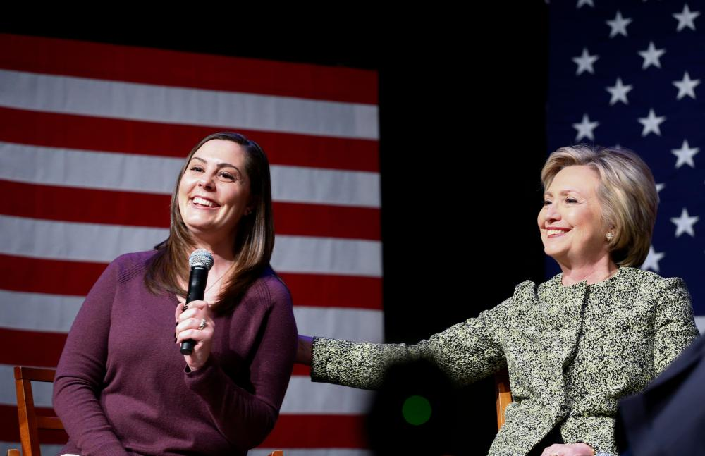 Hillary Clinton and Erica Lafferty at a discussion on gun violence prevention in Port Washington, New York.