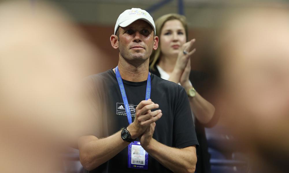 Andrew Richardson, Emma Raducanu's coach, watches on as she defeats Maria Sakkari to reach the US Open final.