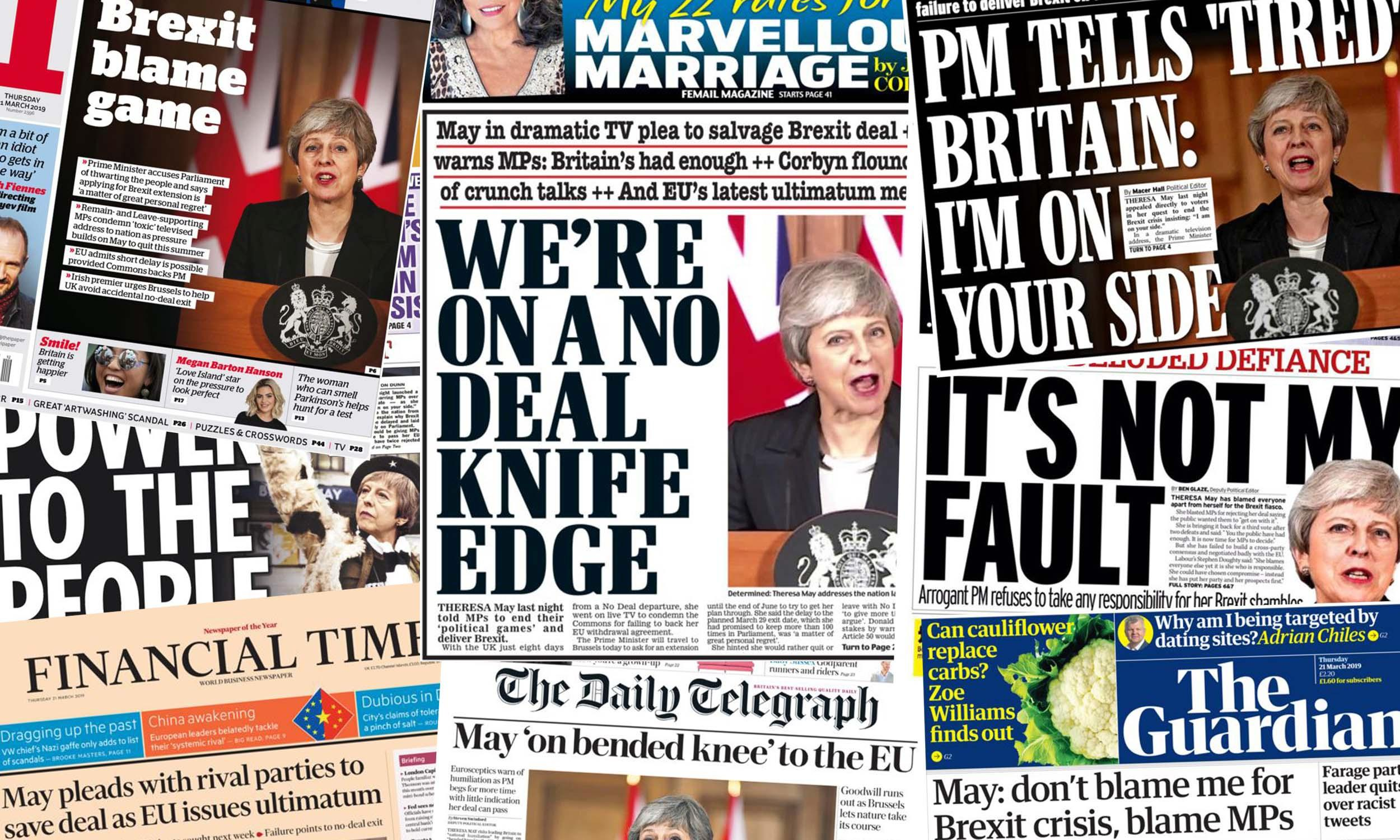 'It's not my fault' – what the papers say as May blames MPs over Brexit