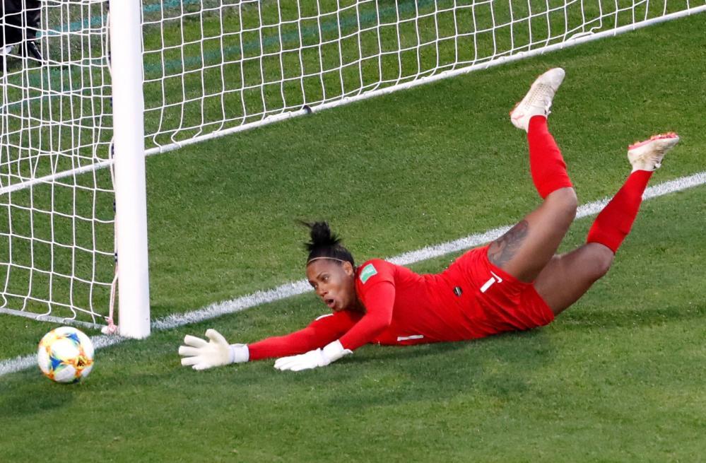 Brazil's Barbara saves a shot from Bonansea.