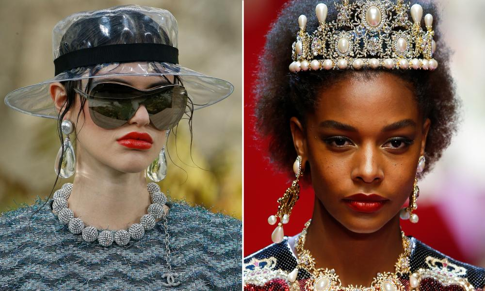 Outsize earrings are back on the catwalks in 2018, despite many previous outings in recent years. Earrings by Chanel and Dolce & Gabbana pictured.