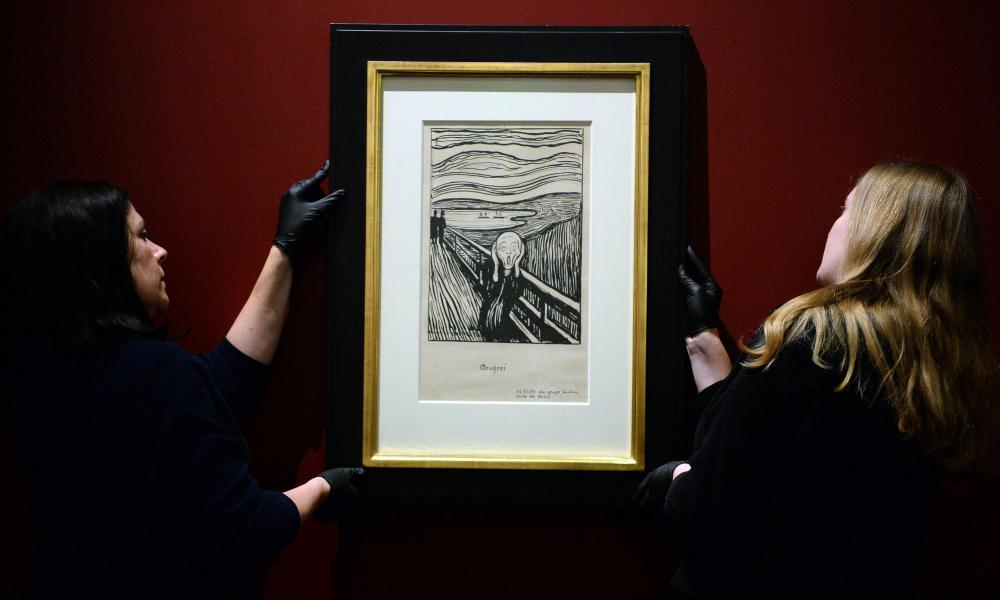Edvard Munch's The Scream being hung at the British Museum in London this week.