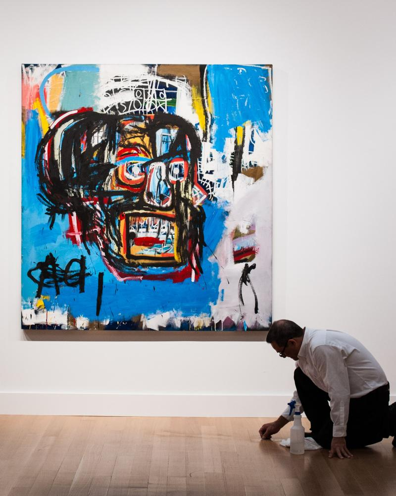 Jean-Michel Basquiat's 1982 painting Untitled (LA Painting) sold for $110.5 million at Sotheby's in New York, to become the sixth most expensive work ever sold at auction.