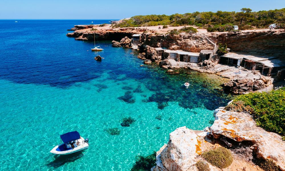Fishing boat at Cala Comte beach, Ibiza.