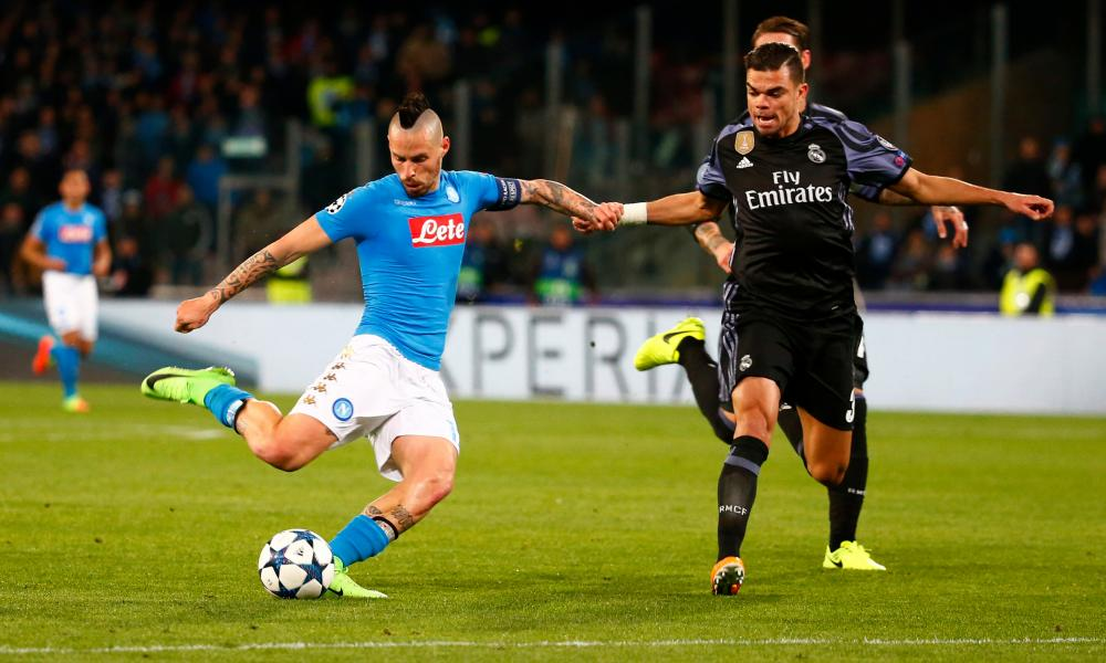 Napoli's Marek Hamsik in action with Real Madrid's Pepe.