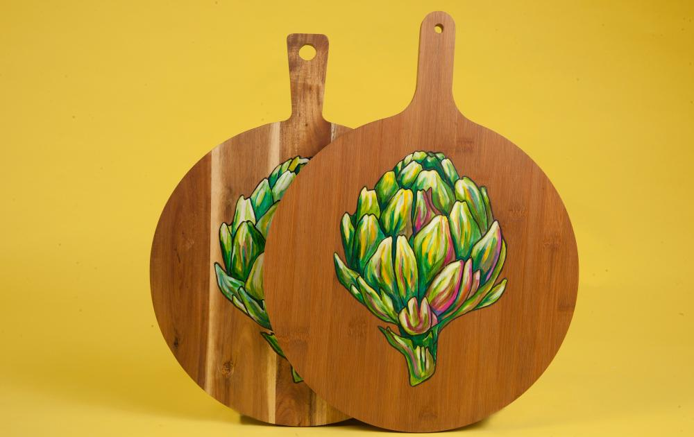 Alex Ebdon hand-painted artichoke board
