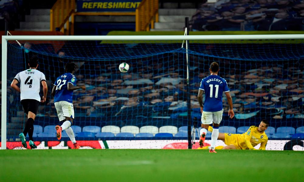Everton's Moise Kean scores their third goal from the penalty spot.
