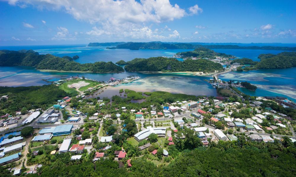 Aerial view, Koror, Palau, Micronesia.