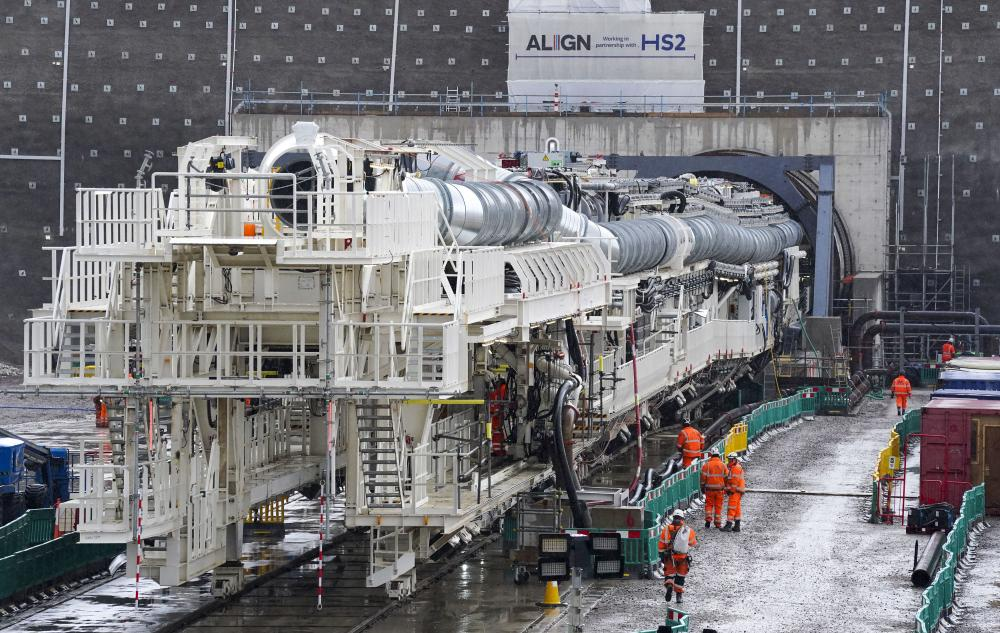 Florence, the largest ever tunnel boring machine used on a UK rail project, at the HS2 site in West Hyde near Rickmansworth, Hertfordshire.