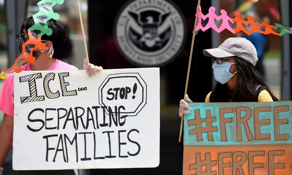A protest outside the headquarters of Ice in Washington in June last year.