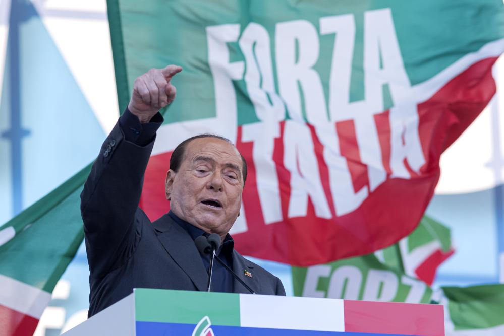 The leader of the Forza Italia party, Silvio Berlusconi, talks onstage at Italian Pride, a rally against the Italian government formed by the Five Star movement and Democratic Party in San Giovanni Square on 19 October 2019 in Rome, Italy.