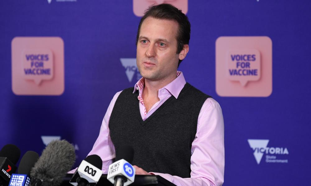 Dr Ryan Hodges speaks to the media at today's Covid press conference in Melbourne