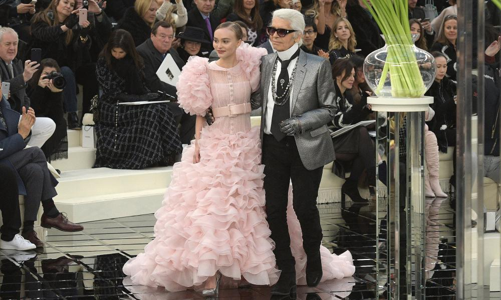 Lily-Rose Depp with designer Karl Lagerfeld at the show's finale.