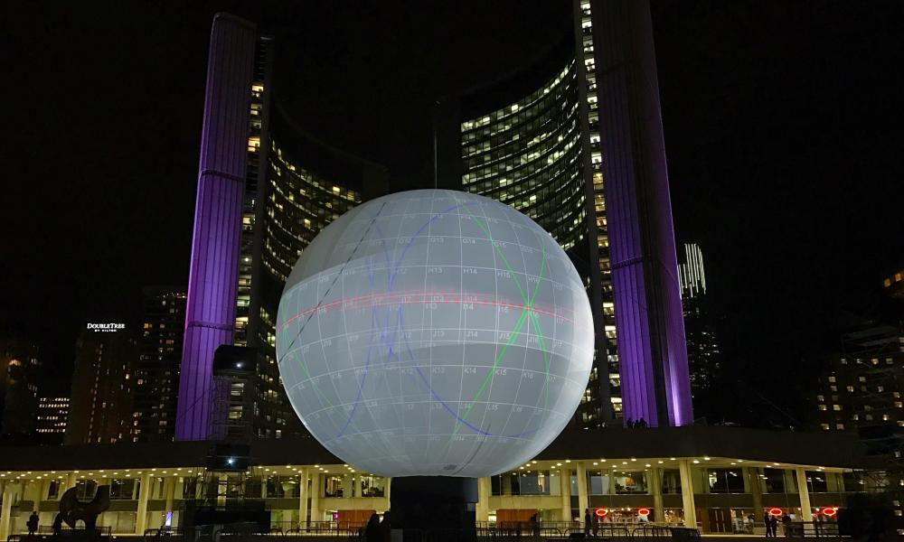 The 45ft sphere on to which Death of the Sun will be projected.