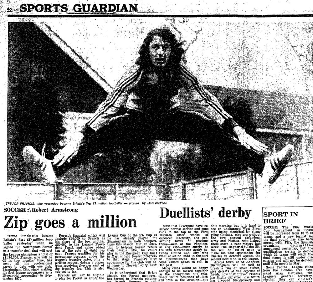 How the Guardian reported Trevor Francis becoming the first £1m footballer.