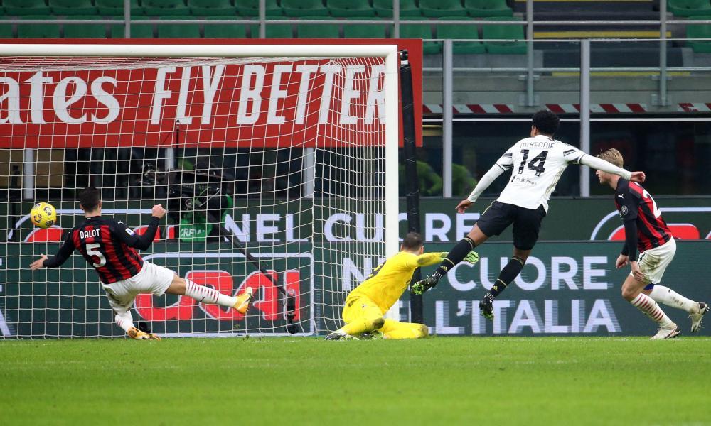 Juventus' Weston McKennie thumps home their third.