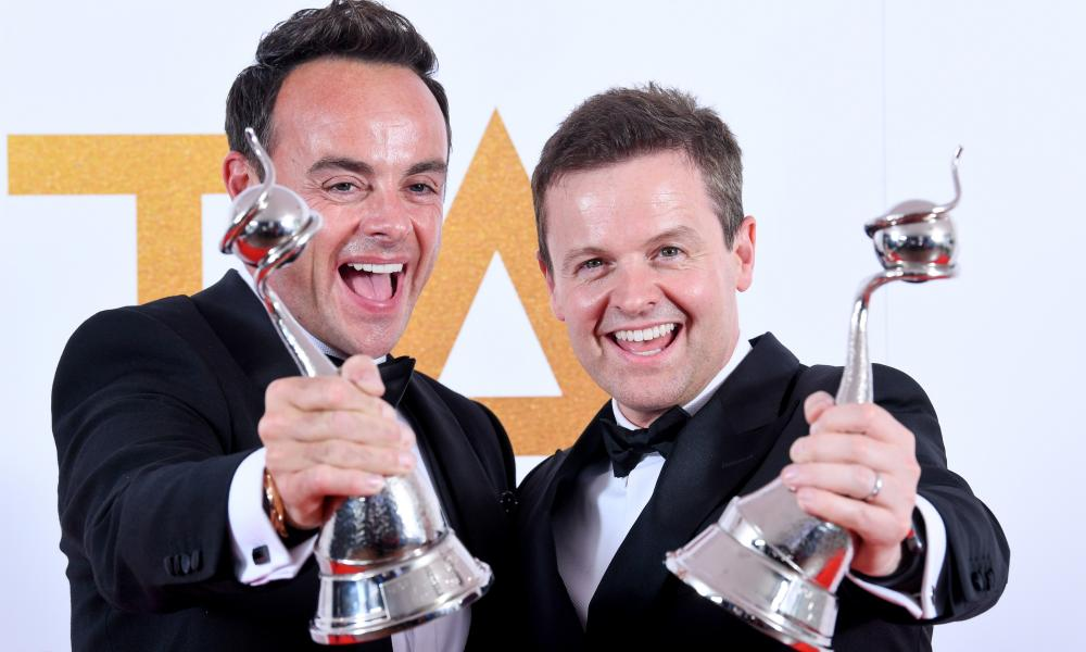 Ant McPartlin and Declan Donnelly celebrate their 20th win at the National Television Awards.
