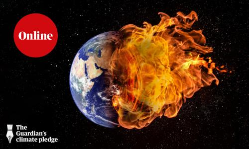 Planet earth in outer space engulfed in flames.