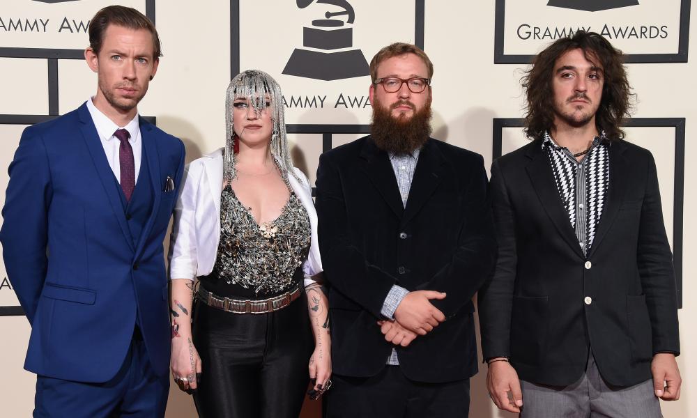 Simon Mavin, Nai Palm, Paul Bender and Perrin Moss of Hiatus Kaiyote at the 2016 Grammy awards.