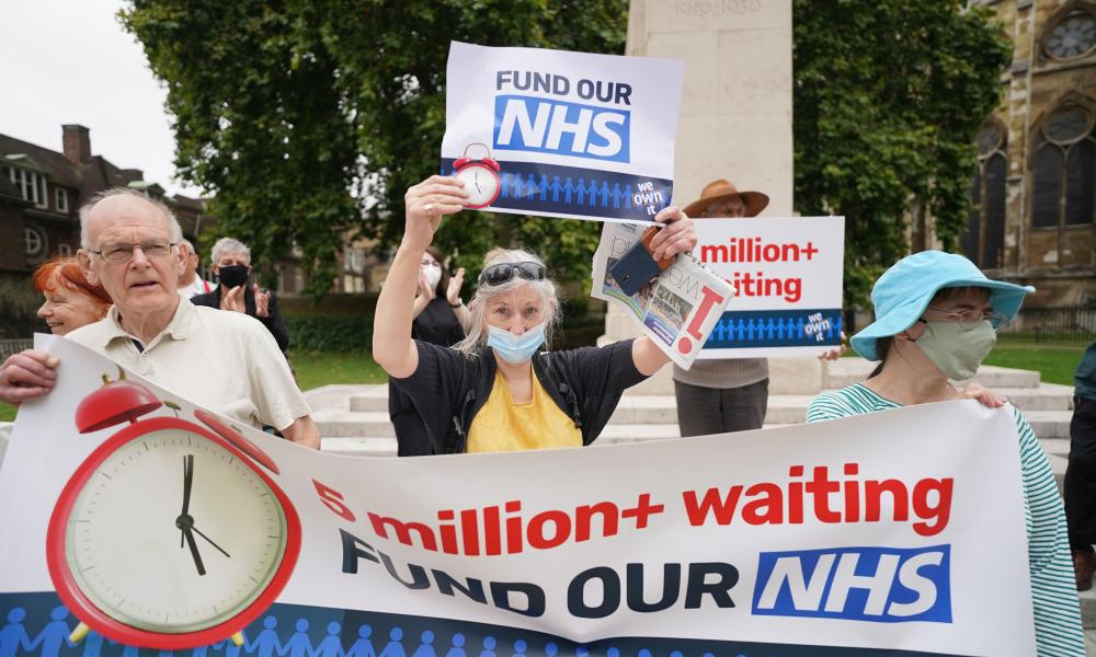 Protesters outside parliament in London over NHS waiting lists