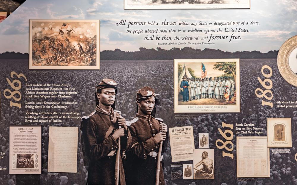 Image from the gallery: Mississippi's Freedom Struggle, providing a civil rights timeline from 1619 to 1865.