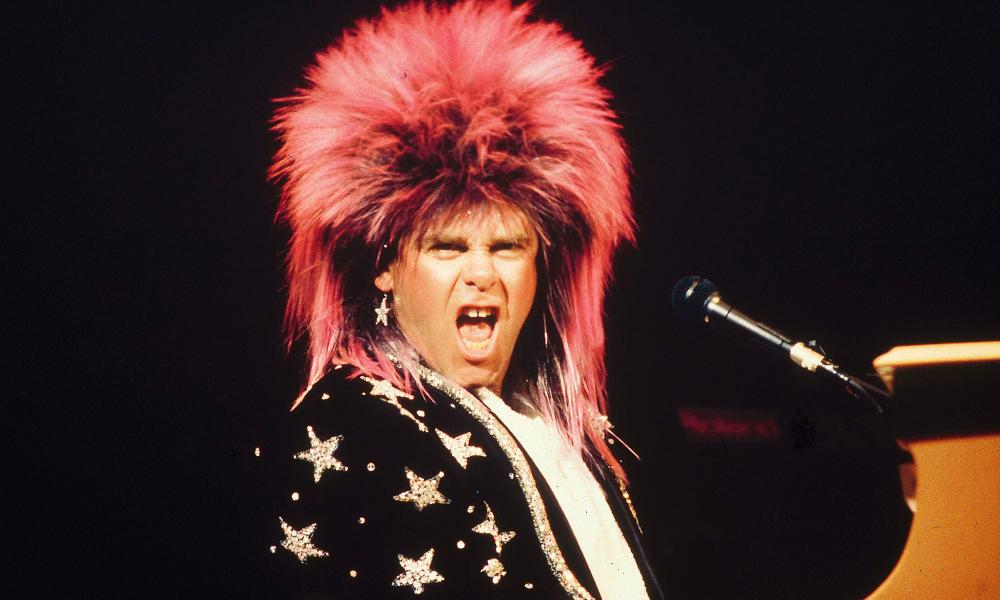 Elton rocks out in Australia in 1986