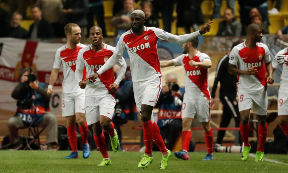 Monaco's Tiemoue Bakayoko celebrates scoring their third goal.