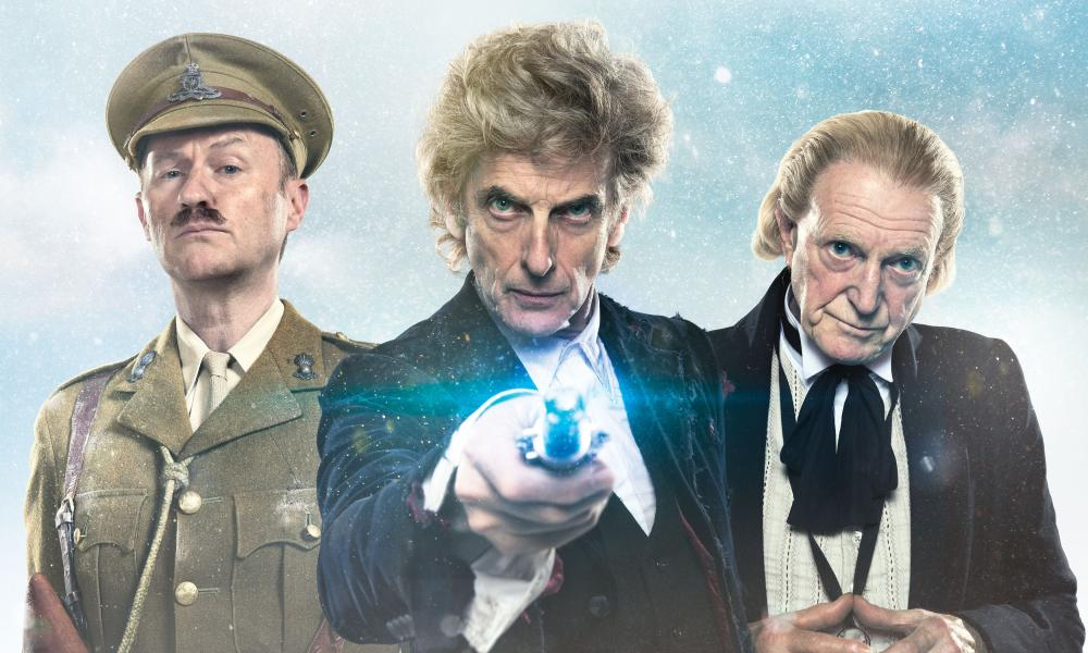Doctor Who: The Captain played by Mark Gatiss, the current Doctor Who played by Peter Capaldi and the first Doctor played by David Bradley