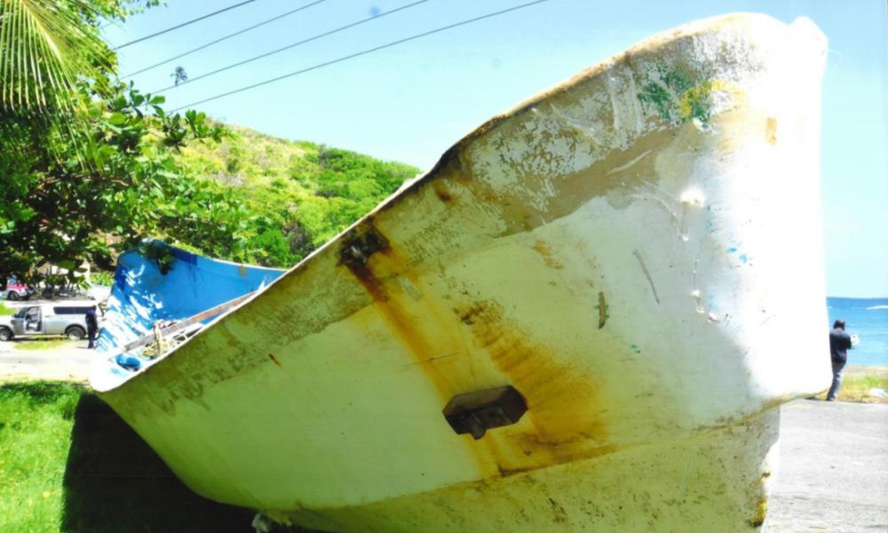 The migrant boat that was found floating off Tobago at the end of May, containing the bodies of 15 people.