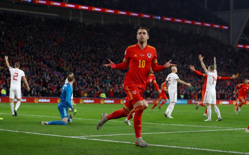 Ramsey celebrates his second.