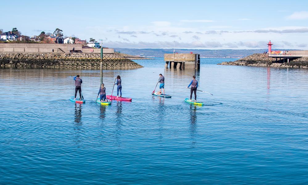 Paddleboarding in Bangor harbour.