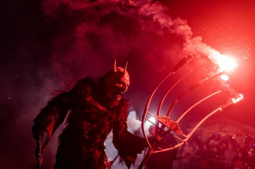 A performer takes part in a show celebrating Krampus