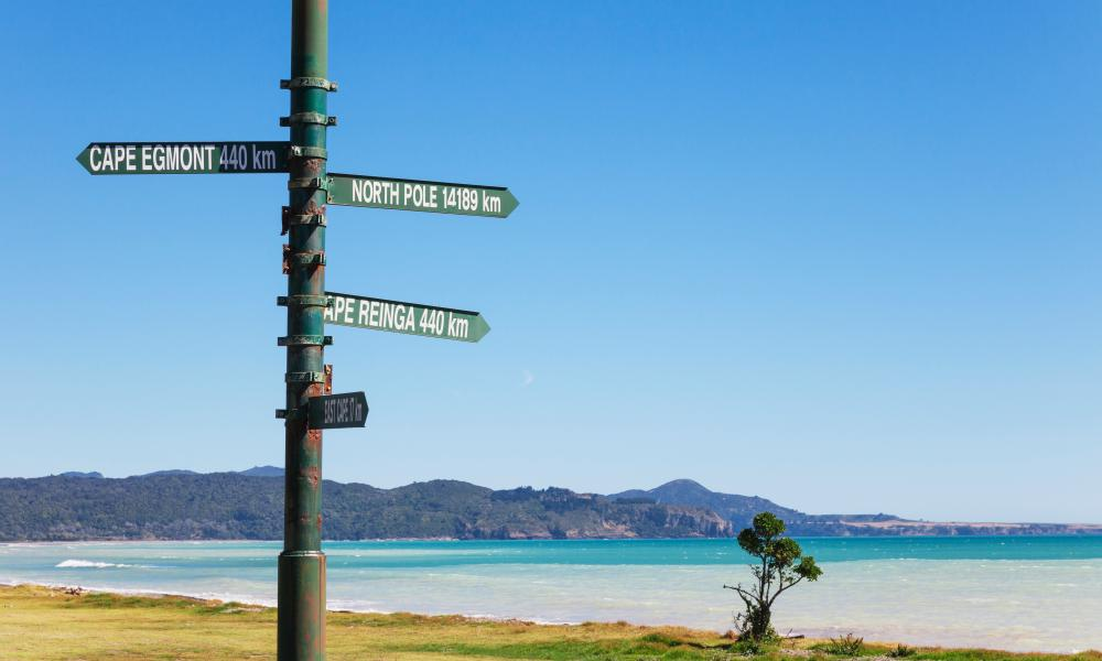 A signpost on New Zealand's 3,000km Te Araroa trail