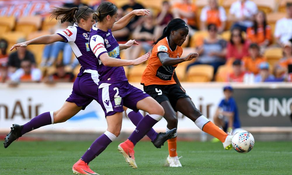 Chi Ubogagu in action for the Roar in Australia.