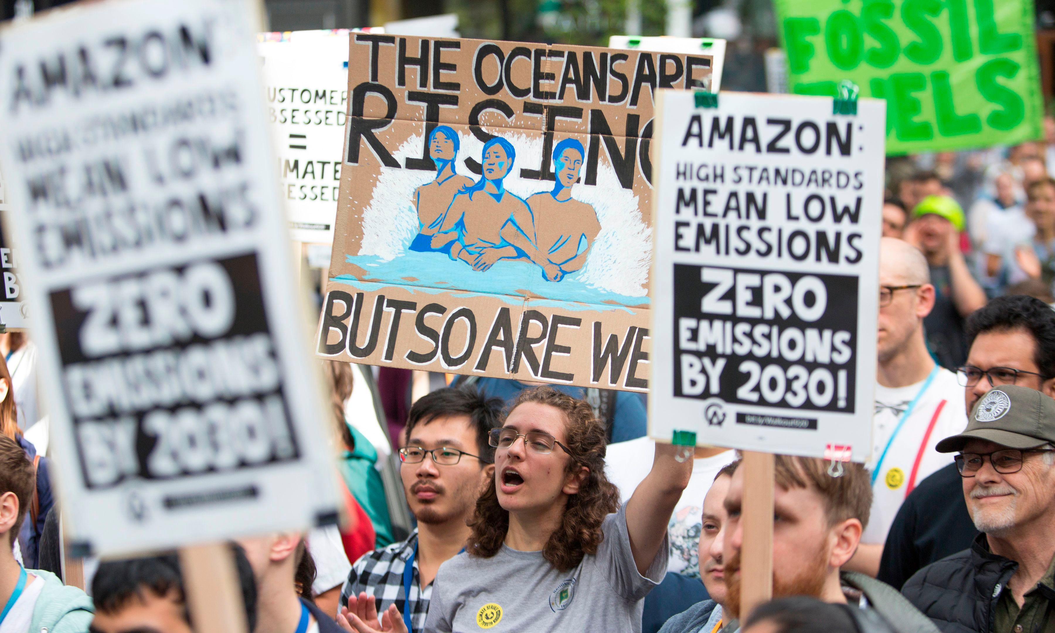 Hundreds of workers defy Amazon rules to protest company's climate failures
