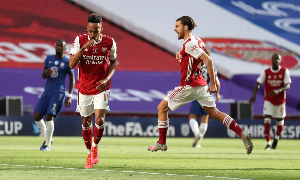 Arsenal's Pierre Emerick Aubameyang celebrates his goal.