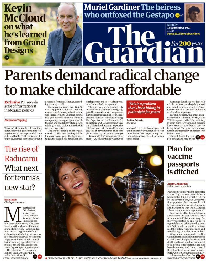 Guardian front page Monday 13 September 2021