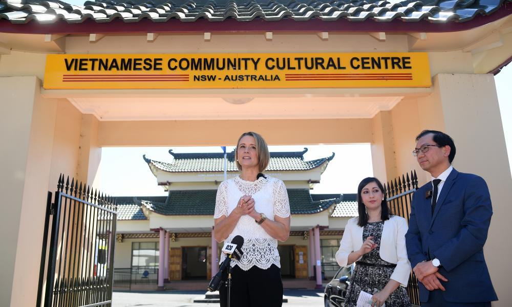 Kristina Keneally with Fairfield councillor Sera Yilmaz and Vietnamese Community in Australia president Paul Nguyen at The Vietnamese Community Cultural Centre in Sydney today