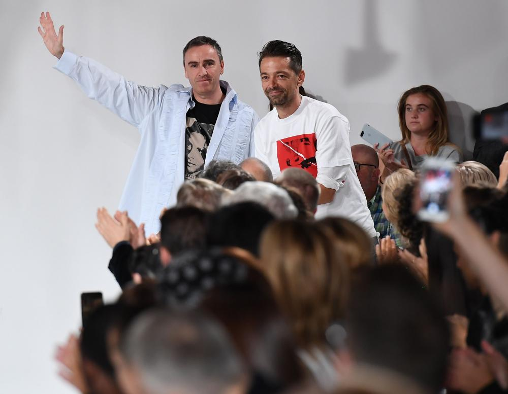 Designers Raf Simons and Pieter Mulier at the Calvin Klein Collection fashion show