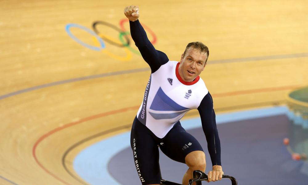 Chris Hoy celebrates winning Gold in the Mens Team Sprint Final on the first day of the track cycling at the Velodrome in the Olympic Park, London.