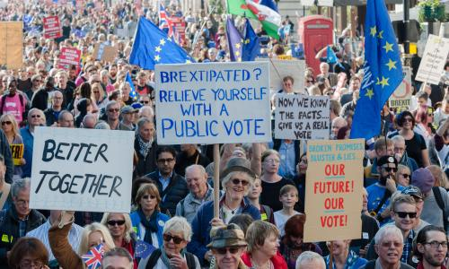LONDON, UNITED KINGDOM - OCTOBER 20: Hundreds of thousands of pro-EU supporters take part in the People's Vote march through central London followed by a rally in Parliament Square to demand a final say on the Brexit deal. October 20, 2018 in London, England.PHOTOGRAPH BY Wiktor Szymanowicz / Barcroft Images